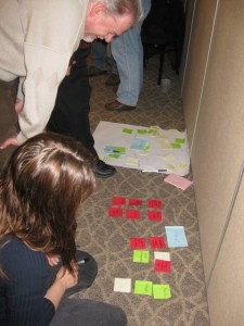If the sticky notes won't stick, just use the floor!