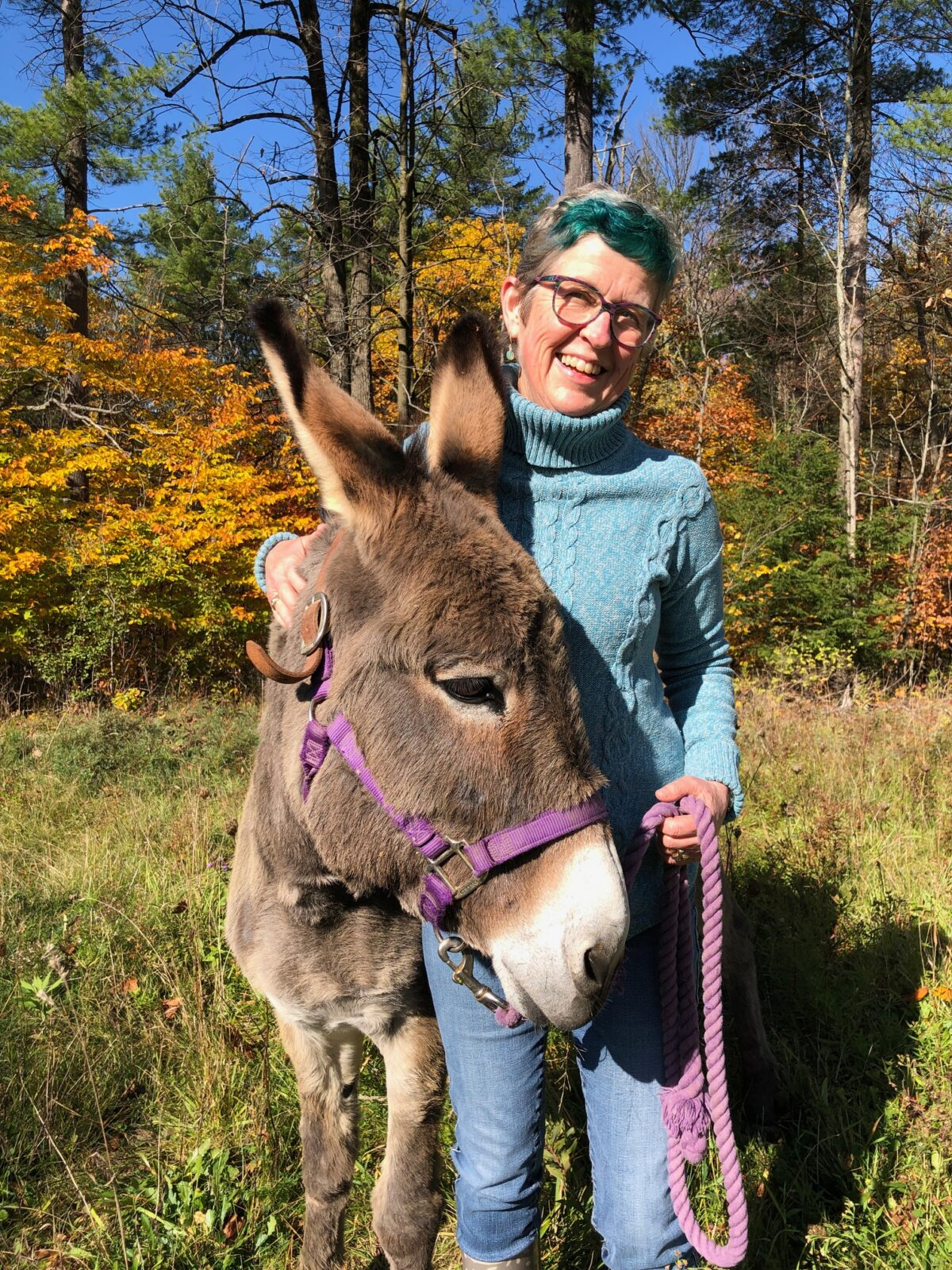 Lisa and one of her donkeys, Marsela