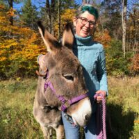 Lisa and one of her donkeys, Marsela